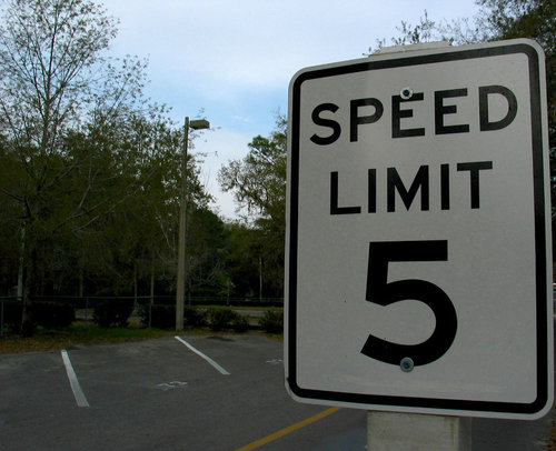 Speed limit 5 road sign